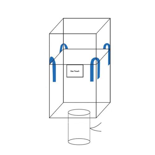 Cross Corner U+2 Panel Duffle Top Spout Bottom FIBC Bulk Bag (Diagram)