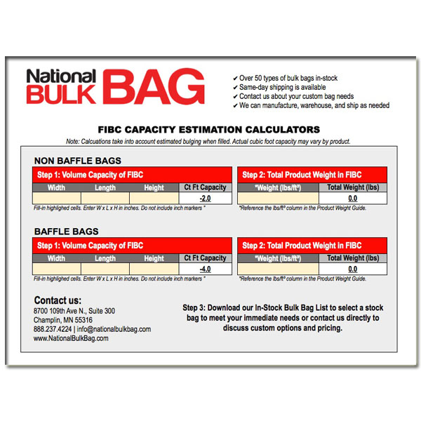 fibc bulk bag volume calculator