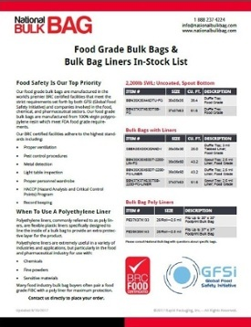 Food Grade Bulk Bags - BRC Certified Facilities - National Bulk Bag